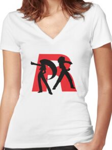 Team Rocket Line art Women's Fitted V-Neck T-Shirt
