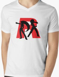 Team Rocket Line art Mens V-Neck T-Shirt