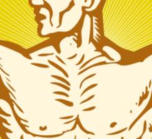 male human anatomy body builder flexing muscle Sticker