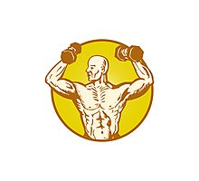 male human anatomy body builder flexing muscle Photographic Print