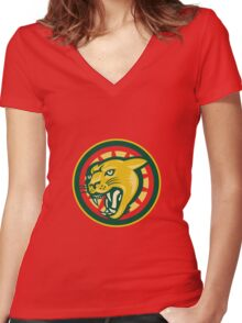 Mountain Lion Puma Big Cat Head Women's Fitted V-Neck T-Shirt