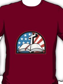 Bible With Cross American Stars Stripes T-Shirt