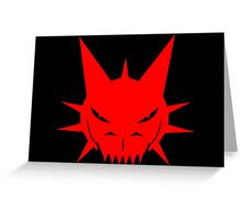 Red Dragon's Head Design On Black Background Greeting Card