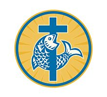 Fish Jumping With Cross Retro by patrimonio