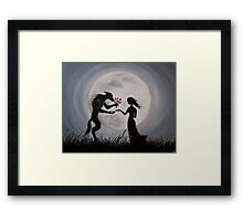 Wolf With The Red Roses Framed Print
