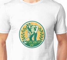Farmer Gardener With Garden Hoe Cabbage Unisex T-Shirt