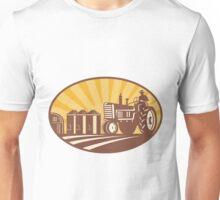Farmer Driving Vintage Tractor Retro Woodcut Unisex T-Shirt