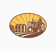 Farmer Driving Vintage Tractor Retro Woodcut T-Shirt