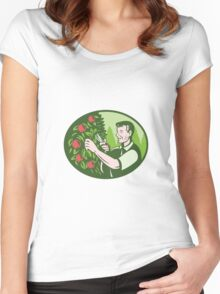 Horticulturist Farmer Pruning Fruit Women's Fitted Scoop T-Shirt