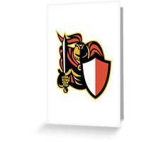 Knight With Sword And Shield Retro Greeting Card