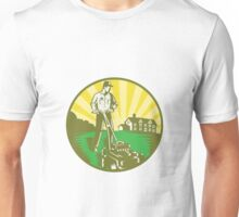 Gardener Mowing Lawn Mower Retro Unisex T-Shirt