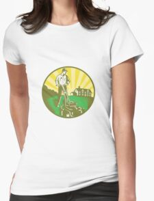 Gardener Mowing Lawn Mower Retro Womens Fitted T-Shirt