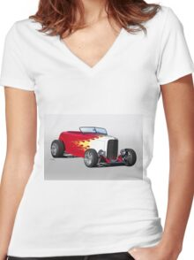 1932 Ford 'Hot Stuff' Roadster Women's Fitted V-Neck T-Shirt