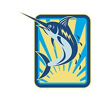 Blue Marlin Fish Jumping Retro Rectangle by patrimonio
