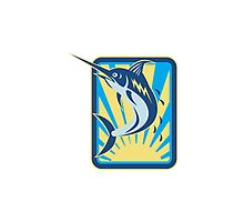 Blue Marlin Fish Jumping Retro Rectangle Photographic Print