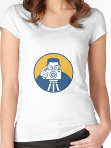 Photographer With Camera Retro Women's Fitted Scoop T-Shirt