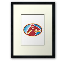 Rugby Player Running With Ball Framed Print