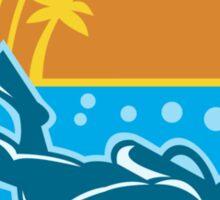 Scuba Diver Diving Island Retro Sticker