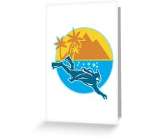 Scuba Diver Diving Island Retro Greeting Card