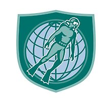 Scuba Diver Diving Dive World Shield by patrimonio