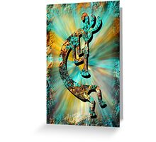 Kokopelli Turquoise and Gold Greeting Card