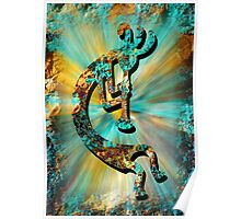 Kokopelli Turquoise and Gold Poster