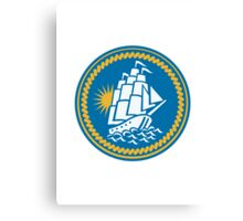 Sailing Tall Ship Galleon Retro Canvas Print