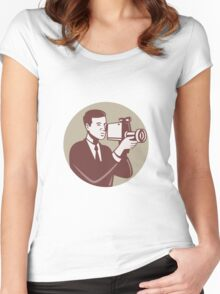 Photographer Shooting Video Camera Retro Women's Fitted Scoop T-Shirt