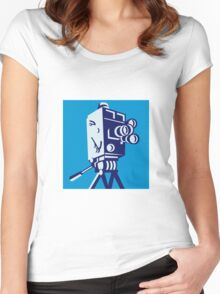 Vintage Film Movie Camera Retro Women's Fitted Scoop T-Shirt