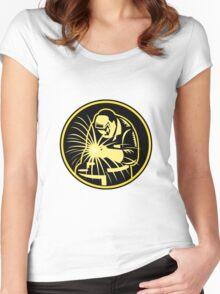 Welder With Welding Torch Visor Retro Women's Fitted Scoop T-Shirt