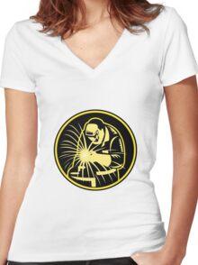 Welder With Welding Torch Visor Retro Women's Fitted V-Neck T-Shirt