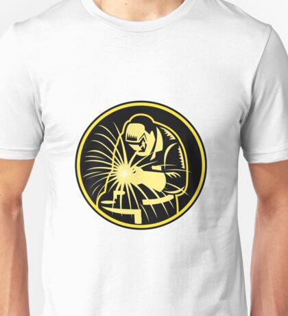Welder With Welding Torch Visor Retro Unisex T-Shirt