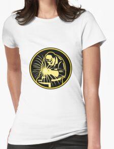 Welder With Welding Torch Visor Retro Womens Fitted T-Shirt