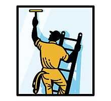 Window Cleaner Worker Cleaning Ladder Retro by patrimonio