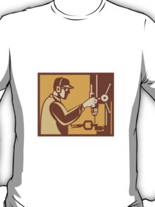 Factory Worker Operator With Drill Press Retro T-Shirt