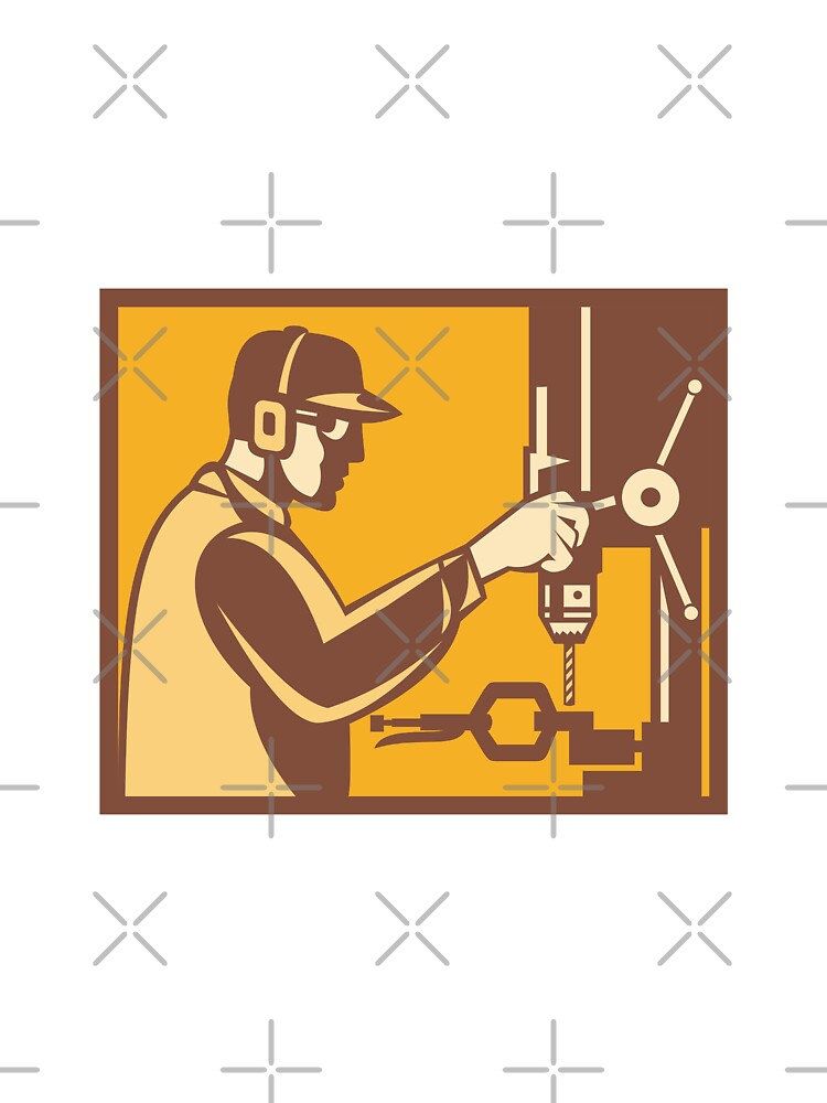 Factory Worker Operator With Drill Press Retro by patrimonio