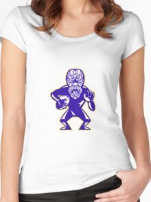 Maori Mask Rugby Player Running With Ball Fending Women's Fitted Scoop T-Shirt