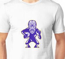 Maori Mask Rugby Player Running With Ball Fending Unisex T-Shirt