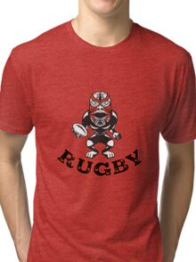 Maori Mask Rugby Player standing With Ball Text Tri-blend T-Shirt