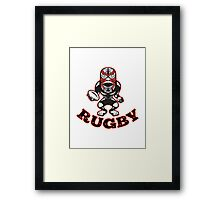 Maori Mask Rugby Player standing With Ball Text Framed Print