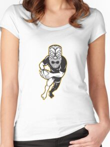 Maori Mask Rugby Player Running With Ball Women's Fitted Scoop T-Shirt
