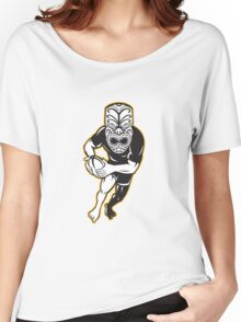 Maori Mask Rugby Player Running With Ball Women's Relaxed Fit T-Shirt
