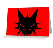 Black Dragon's Head Design On Red Background Greeting Card