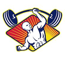 Weight lifter Body Builder Lifting Barbell by patrimonio