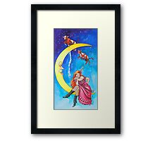 Saloon Girl On The Moon With Moon Cows! Framed Print