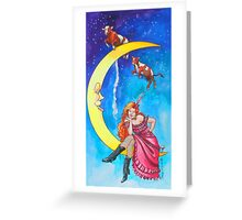 Saloon Girl On The Moon With Moon Cows! Greeting Card
