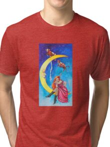 Saloon Girl On The Moon With Moon Cows! Tri-blend T-Shirt