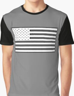 American Flag, STARS & STRIPES, USA, America, White on Black Graphic T-Shirt