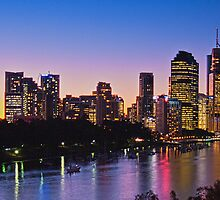 Brisbane Riverside Sunset Panorama Australia by PhotoJoJo