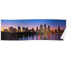 Brisbane Riverside Sunset Panorama Australia Poster